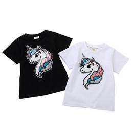 ea5056ce5dfc Wholesale Cotton boys girls kids t shirts summer casual t shirt short sleeve  cartoon unicorn sequins tshirts white black children clothes