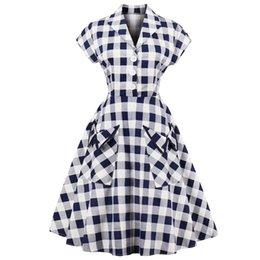 Kenancy 60s Audrey Hepburn Vintage Dress Plus Size 4xl Plaid Print Women Party  Dress Elegant Swing Rockabilly Feminino Vestidos Y19012201 0c4084414
