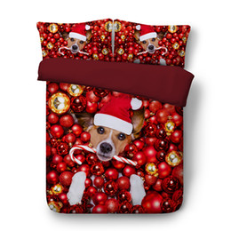 Christmas Bedding Luxury NZ - Beddings Christmas 3-Piece Bedding Set With 2 Pillow Shams Luxury Microfiber Duvet Cover Set BullDog Puppy Cat Pattern Design Home Textile