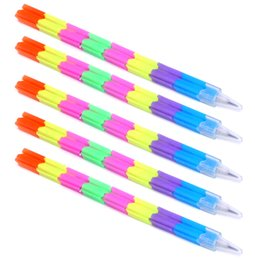Kids Blocks Wholesale Australia - 5Pcs Stationery Replaceable Core Kids Gift Splicing Plastic Rainbow Pencils Pen Toy Pencils School Blocks Writing Tools Office