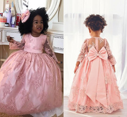 pink little princess gown NZ - Pink Kids First Holy Communion Dresses Long Sleeve Jewel Neck Lace Little Girls Pageant Gowns Puffy Bow Princess Flower Girl Dresses AL6301