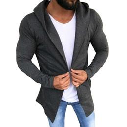 Mantle Clothes Australia - Free Shipping Hot 2018 Hoodies Men Grey Cardigan Hooded Mantle Clothing Hoodies Outerwear Jacket Streetwear