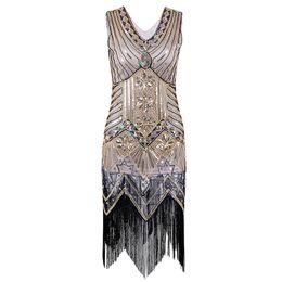 30687540e5f Paillette Sequins Tassel Dress Deep V Neck Vest Dresses Women 1920 s Style  Flapper Vintage Gatsby Charleston Vestidos Dropship
