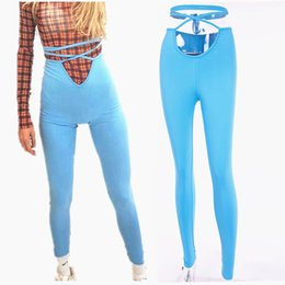 rock leggings NZ - Fashion Sexy Women High Waist Workout Fitness High Waist Push Up Leggings Legins Blue Punk Rock Elastic Bandage Pants