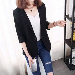 $enCountryForm.capitalKeyWord Australia - Plus size 5XL women elegant blazer spring summer cotton linen black white notched pockets office lady casual outerwear suit