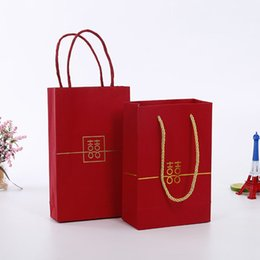 double happiness wedding gift Australia - Red Double Happiness Paper Gift Bags with Handle Wedding Party Favors Bags Candy Sweets Packaging Bag