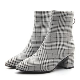 $enCountryForm.capitalKeyWord UK - Women Pointed Toes Plaid Ankle Boots Chunky Heels Lady Fashion Boots Back Zip shoes Grid Boots Pumps JY20