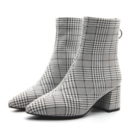 Women Pointed Toes Shoes Plaid Ankle Boots Chunky Heels Lady Fashion Boots  Back Zip shoes Grid Boots Pumps 5720003a8525