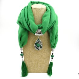 $enCountryForm.capitalKeyWord Australia - Winter Ethnic Beads Tassel Scarf With Peacock Pendant Fringe Jewelry Long Scarf Necklace For Women Jewelry Accessories
