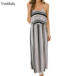 ladies casual floor length dresses Canada - Long Striped Dress Women 2019 Summer Elegant Party Dress Ladies Floor Length Beach Maxi Sexy Backless Dresses Female