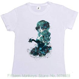 e9d17c3d67b Women s Tee Day Of The Dead Sugar Skull Woman With Long Hair Womens Ladies T -shirt Female T-shirt Kawaii Punk Tops Tee