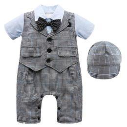 $enCountryForm.capitalKeyWord Australia - Baby Boy Jumpsuit Romper Bebe Infant Gentleman Overalls Suit Set Hat Toddler Wedding Birthday Party Costume Baptism Gift J190524