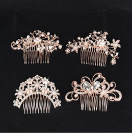 Fine black hair online shopping - Rose Gold Bridal Wedding Tiaras Stunning Fine Comb Bridal Jewelry Accessories Crystal Pearl Hair Brush utterfly hairpin for bride