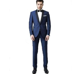 navy blue tuxedos for weddings UK - Navy Blue Italian Mens Suits for Wedding Party Formal Suits Black Shawl Lapel 2 Pieces Slim Fit Jacket+Pants Groom Tuxedos Suits for Wedding