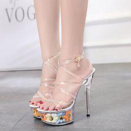 2018 Sexy Super High Heels Platform Sandals Women 15cm Heel Transparent  Crystal Wedding Party Pumps Ladies Flower Sandals WS1747 b38b2c061447