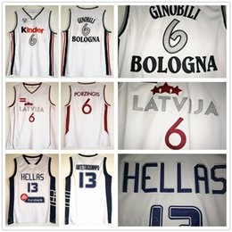 fa7ef072b NCAA Basketball Greece Dwayne Hellas 13 Giannis Antetokounmpo Jerseys White  Italy Kinder Bologna 6 Manu Ginobili Latvija Kristaps Porzingis