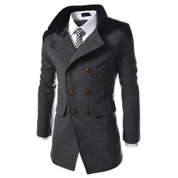 trench coat fashion UK - winter fashion long trench coat good quality double breasted wool blend overcoat for color casual jacket size 3XL
