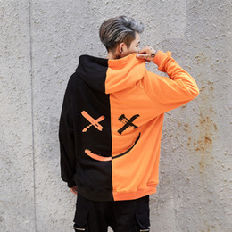 Black Block Clothing Australia - Hoodies Sweatshirts Men Color Block Black White Patchwork Smile Print Male Hoodie Hip Hop Streetwear Men Clothes 2018 Hoodie