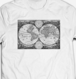 Cotton World Map Australia - VINTAGE WORLD MAP T-SHIRT 100% COTTON CLASSIC OLD RETRO TEE TOPFunny free shipping Unisex Casual Tshirt top