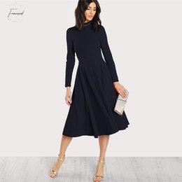 fit flare knee length dresses Canada - Navy Mock Party Dresses Neck Fit And Flare Dress Women Long Sleeve Fall Office Elegant High Waist Ladies Dress