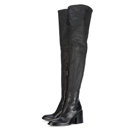 zipper over knee boots UK - TAOFFEN New Genuine Leather Loots With Square High Heels Zipper Over The Knee Boots Sexy Autmun Boots Women Shoes Size 31-45