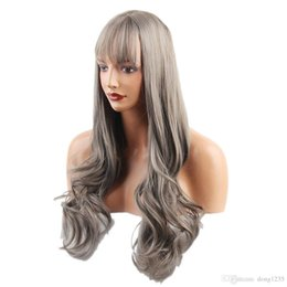$enCountryForm.capitalKeyWord NZ - Fashion Women Long Natural Straight Wavy Synthetic Hair Wigs with Cap Gray>>>>>Free shipping New High Quality Fashion Picture wig