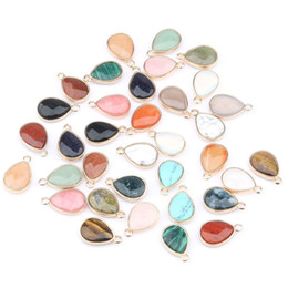 eye shaped pendants Australia - Wholesale Water Drop Shape Natural Stone RoseQuartz Tiger Eyes Pendant DIY for Necklace or Jewelry Making 16 Color