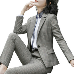 working lady pants NZ - Women's Fashion Plaid Suits, Long Sleeved Business And Office Ladies Blazer Pants Work Wear Costume Femme Traje Mujer