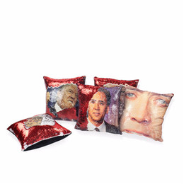 Gift Throw UK - New Year Gifts Sequin Throw Trump Reversible Pillow Case Magical Nicolas Cage Face DIY Mermaid Sequin Pillow Cover Bedding Set 5 Colors