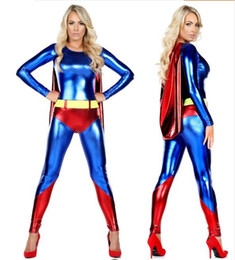 funny superheroes costumes Canada - Free Shipping superwomen superhero Costume Shiny Metallic Zentai Cosplay Halloween Female Women Girls Bodysuit