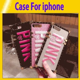 $enCountryForm.capitalKeyWord Australia - Luxury Embroidery 3D Pink Letter Case For iphone 6 7 8 Plus Glitter Metal Square Phone Cases for iPhone X XR XS Max wholesale8