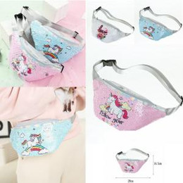 Discount wholesale sequin cosmetic bags - 3styles Unicorn Sequins Waist Bag Mermaid Love Belt Fanny Pack Beach Bag Teenager Purses Women Cosmetic Bags outdoor tra