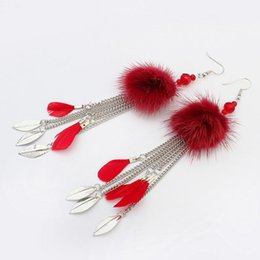 Feather Ball Hair Australia - Fur Ball Tassel Chain Earrings Long Rabbit Hair Feather Crystal Rhinestones Bead Drop Fashion Elegant Gift For Women Jewelry