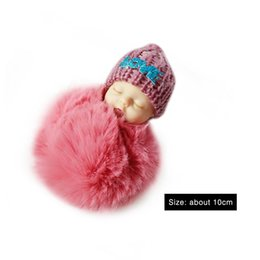 big sleeping bags NZ - OCDAY Sleeping Baby Doll Plush Keychain Creative Cute Small Soft Fur Doll Pendant Car Bag Charm Fluffy Ball Keyring Toy for Kids