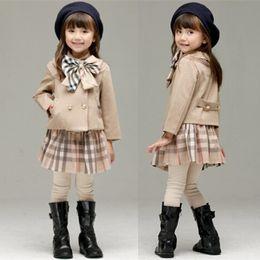 Korean autumn clothes online shopping - Retail baby girl winter outfits Korean plaid sports suit sets Clothing Sets Infant kids designer tracksuits boutique clothes