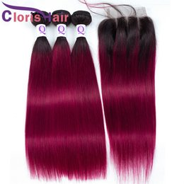 Discount hair weave two tone red straight Two Tone Burgundy Raw Virgin Indian Top Closure With Extensions Straight Human Hair 3 Bundles With Lace Closure 4pc Red