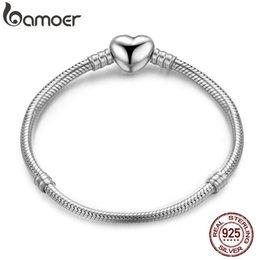 $enCountryForm.capitalKeyWord Australia - Bamoer Authentic 100% 925 Sterling Silver Snake Chain Moments Heart Bracelet & Bangle Luxury Silver Jewelry Pas917 J190721