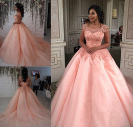 pink princess apple NZ - 2019 Pink Quinceanera Dress Square Neckline Formal Princess Sweet 16 Ages Girls Prom Party Pageant Gown Plus Size Custom Made