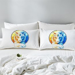 be78288824eb Inner Balance by Pillowcase Tigers Printed Pillow Case Animal Blue Bedding  Tai Chi Sun and Moon Pillow Covers 2pcs