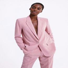 $enCountryForm.capitalKeyWord NZ - New Style Pink Plaid Suit Jacket Women Fashion Long Sleeve Suits Coat Women Elegant Tailored Collar Jacket Suits Female DG05