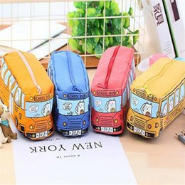 horse stationery UK - Kawaii Creative Large Capacity Canvas Car Pen Bag Stationery Box Cartoon Animal School Bus Writing Case Trousse School Supplies