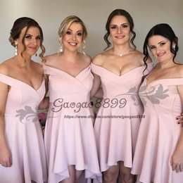 color high low wedding dresses Canada - 2019 blush pink High Low Bridesmaid Dresses off shoulder sleeves V neck beach country garden Formal Maid of Honor Wedding Gowns Cheap