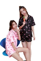 $enCountryForm.capitalKeyWord Australia - All Above Love Heart Print Tee & Shorts Pajama Set 2018 Multicolor Round Neck Short Sleeve New Arrival Women Pajama Set