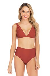 d139d21d1fb 2019 New Brown Red High Waist Triangle Cup Thong Bikini Women's Sexy  Swimsuit Set Solid Bathing Suit Brazilian Beachwear Female