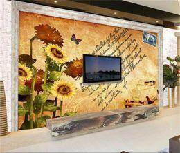 Mural painting wallpaper oil online shopping - 3d wallpaper custom photo mural wall sticker living room bed room sunflower hand painted oil painting picture d wall room murals wallpaper