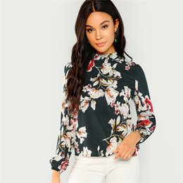 Women's Clothing Radient Lady Floral Printed Long Sleeve Mock Neck Blouse Autumn Holiday Beach Casual New