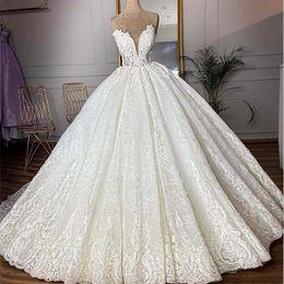 $enCountryForm.capitalKeyWord Australia - Luxury Sweetheart Lace Appliqued Ball Gown Wedding Dress Vinathe Open Back Saudi Arabia Dubai Long Sleeves Bridal Gown