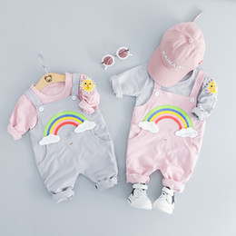 Wholesale boys top cartoon online – design Spring Infant Boys Girls Clothing Set Kids Cartoon long sleeves T shirt top Rainbow Suspender Pants set Children Outfits M439