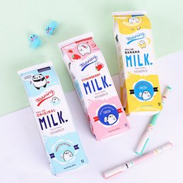 kawaii pens NZ - Children milk box pencil bags cute kawaii kids Large capacity PU cartoon pen bag free shipping