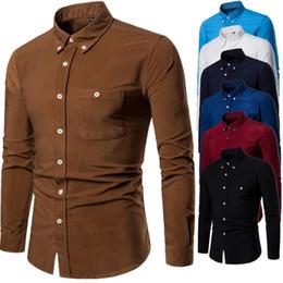 $enCountryForm.capitalKeyWord Australia - 2019 Male Corduroy Long Sleeve Shirts Clothing Brand Slim Fit Casual Comfortable Dress Shirt For Men High Quality Chemise Homme